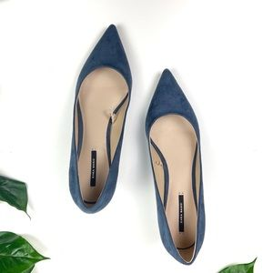 Zara Basic suede heels blue kitten heel pumps S 39